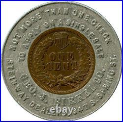 1904 Geo. J. Birkel Steinway Piano Dealer Los Angeles, California Encased Cent