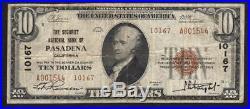 1929 $10 PASADENA CA National Bank Note LOS ANGELES COUNTY A001544