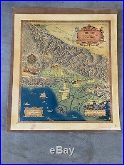1937 Orig VINTAGE CARTOON MAP OLD SPANISH MEXICAN RANCHOS OF LOS ANGELES COUNTY