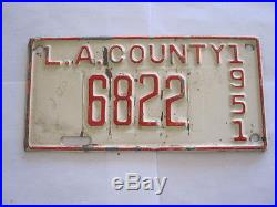 1951 Los Angeles COUNTY California License Plate Tag
