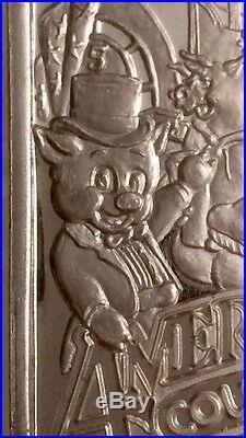 1990 LA COUNTY FAIR PIG 999 SILVER ART COLLECTABLE BAR 1 TROY OZ Los Angeles