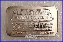 1992 LA COUNTY FAIR. 999 SILVER ART COLLECTABLE BAR 1 TROY OZ Los Angeles