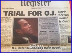 1994 OJ Simpson TRIAL local Los Angeles newspaper Orange County Register