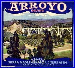 306995 Sierra Madre Los Angeles County Arroyo Orange Fruit Crate POSTER PLAKAT