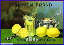 307000 Pasadena Los Angeles County Premium Lemon Fruit Crate POSTER Affiche