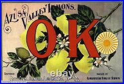 307091 Azusa Los Angeles County OK Lemon Citrus Fruit Crate Box POSTER PLAKAT