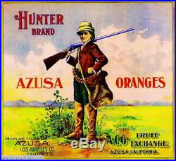 307136 Azusa Los Angeles County Hunter #1 Orange fruit Crate POSTER Affiche