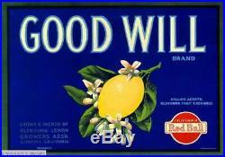 307445 Glendora Los Angeles County Good Will Lemon Fruit Crate POSTER Affiche