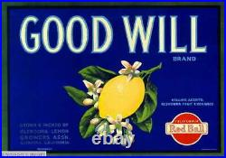 307445 Glendora Los Angeles County Good Will Lemon Fruit Crate POSTER PLAKAT