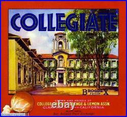 307536 Claremont Los Angeles County Collegiate Orange Crate PRINT POSTER CA