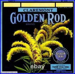 308096 Claremont Los Angeles County Golden Rod Orange Crate PRINT POSTER PLAKAT