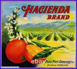 308334 Los Angeles County Hacienda California Orange Fruit Crate POSTER PLAKAT