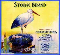 308697 Claremont Los Angeles County Stork #2 Orange Fruit Crate POSTER PLAKAT