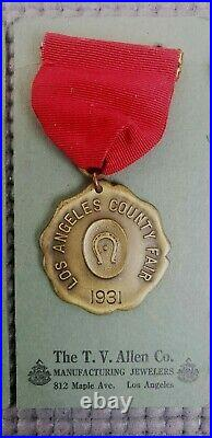 3 Los Angeles County Fair Horse Club Division 1931 Champion, 2nd, & 3rd Medals