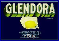 97593 Glendora Los Angeles County Lemon Citrus Box Decor LAMINATED POSTER DE