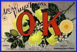 98115 Azusa Los Angeles County OK Lemon Citrus Box Decor LAMINATED POSTER US