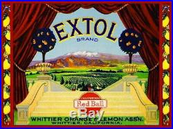 99132 Whittier Los Angeles County Extol Lemon Citrus Decor LAMINATED POSTER US