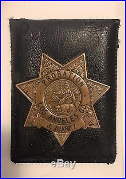 Antique Obsolete Los Angeles County Ca Probation Officer Police Badge Full Size