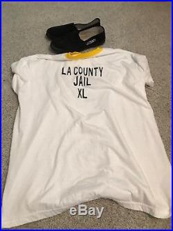 Authentic LA COUNTY JAIL Uniform Inmate Prison Los Angeles T-shirt XL 9 Shoes