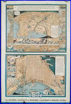 CALIFORNIA LONG BEACH / PICTORIAL MAP 1933 Los Angeles County