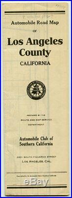 CALIFORNIA LOS ANGELES ROAD / Automobile Road Map of Los Angeles County 1928