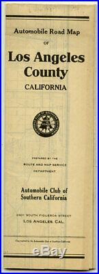 CALIFORNIA LOS ANGELES ROAD / Automobile Road Map of Los Angeles County 1929