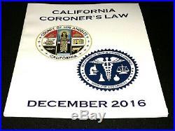 County di Los Angeles 2016 California CORONER'S Law Libro Medco Esaminatore L. A