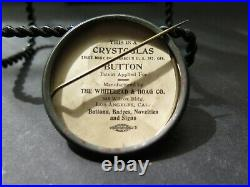Crystoglas Button PINBACK WHITEHEAD HOAG CO. LOS ANGELES COUNTY OF FRUIT FLOWERS