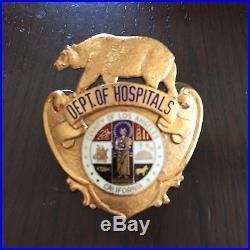 Defunct Los Angeles County Security Police Historical Hat Badge Hallmarked
