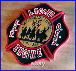 Fire Department Los Angeles County Southside 85 routed wood patch sign Custom