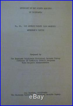 Inventory Of The County Archives Of California No. 20, Los Angeles County 1941