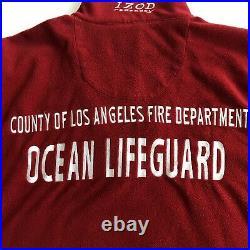 Izod PerformX 1/2 Zip Fleece Pullover Los Angeles County Fire Lifeguard Sz L