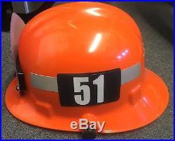 LOS ANGELES COUNTY FIRE DEPARTMENT LACoFD STATION 51 ORANGE CAPTAIN FIRE HELMET
