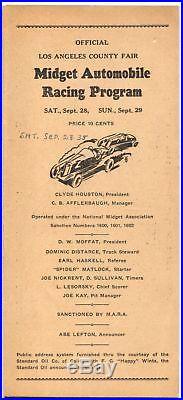 Los Angeles County Fair Speedway Auto Race Program 9/28/1935-midgets-VG
