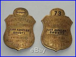 Obsolete Los Angeles County California Agriculture Commissioner inspector badges