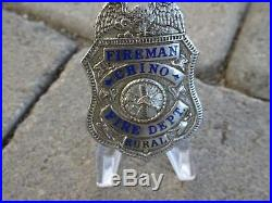 Old Chino California CA (San Bernardino County) Fireman Badge, Los Angeles Stamp