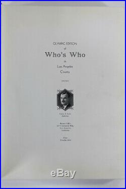 Olympic Edition of Who's Who in Los Angeles County, 1930-1931 Hardcover