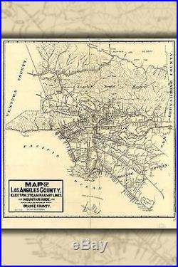 Poster, Many Sizes Map Of Los Angeles County 1912