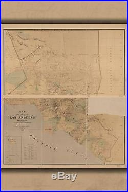 Poster, Many Sizes Map Of The County Of Los Angeles, California 1877