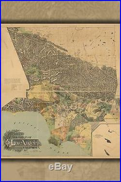 Poster, Many Sizes Map Of The County Of Los Angeles, California 1898