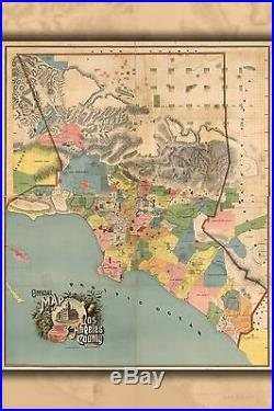 Poster, Many Sizes Official Map Los Angeles County, California 1888