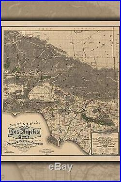 Poster, Many Sizes Road Map Of Los Angeles County 1900