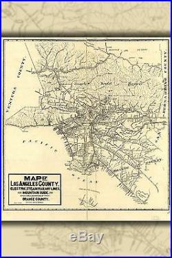 Poster, Molte Misure Mappa Del Los Angeles County 1912