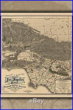 Poster, Molte Misure Strada via Mappa Del Los Angeles County 1900