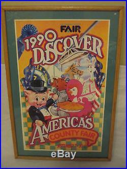 RARE Framed Poster 1990 DISCOVER AMERICAS Los Angeles County Fair 30 x 18
