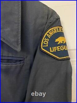 RARE! True Vintage Los Angeles County Lifeguard Jacket Coat California Navy Blue