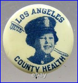 Rare 1930's SHIRLEY TEMPLE LOS ANGELES COUNTY HEALTH 7/8 pinback button