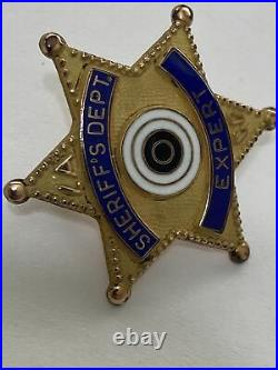 Rare 1950's Los Angeles County Sheriff Expert Shooting Pin Gold Filled 2
