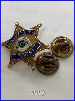 Rare 1950's Los Angeles County Sheriff Expert Shooting Pin Pistols Gold Filled