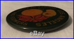 Rare LOS ANGELES County of Fruit Flowers CRYSTOGLAS pinback button c. 1915